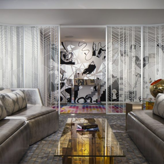 EWOW Suite in the W Hotel Times Square. Documentation of the metal screen fabricated by Amuneal.