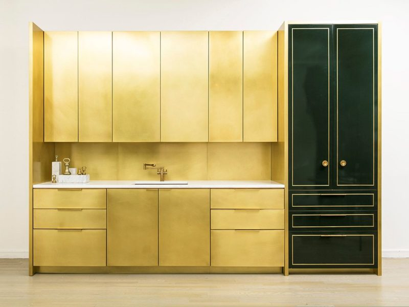 This single elevation shows brass upper and lower cabinets with an optional pantry in a lacquered finish. The brass is sealed with an incredibly strong and durable sealer to protect the finish of the brass and to prevent fingerprinting.